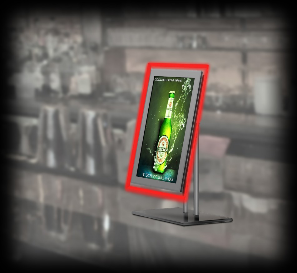 Crystal LCD display on a stand
